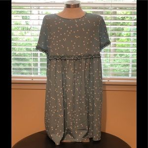 Ladies blue dress with white polka dots